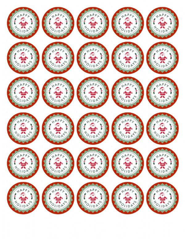 HAPPY HOLIDAYS EDIBLE CUPCAKE TOPPERS